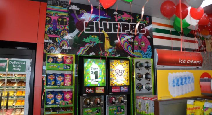 The Slurpee machine is sure to be worked hard on the opening day of Lithgow 7-Eleven. Photo: HOSEA LUY