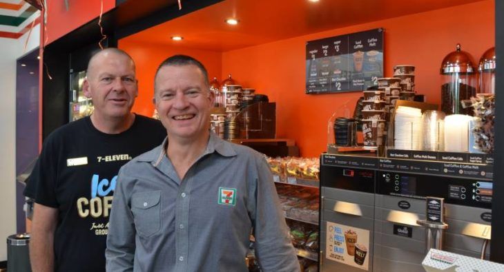OPENING DAY: 7-Eleven franchisee Barry King (left) and Braeden Lord, General Manager of retail operations were all smiles on Thursday morning.